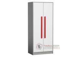 GYT 01, šatní skříň, antracit / bílá / červená