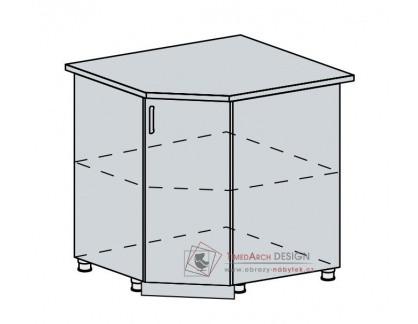 ANASTASIA, dolní skříňka rohová 90DRS, bílá / ořech