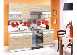 Kuchyň 220cm s pracovní deskou 100+60 cm MODENA buk / bílý lesk