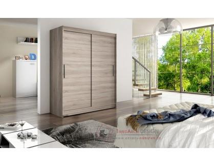 WESSTA I, šatní skříň s posuvnými dveřmi 150cm, dub lanýžový