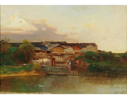 Slavné obrazy II-DDSO-384 Adolf Obermüllner - Vesnice u řeky