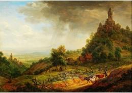 Slavné obrazy IX DDSO-617 Franz Schütz - Krajina s pevností a dobytkem