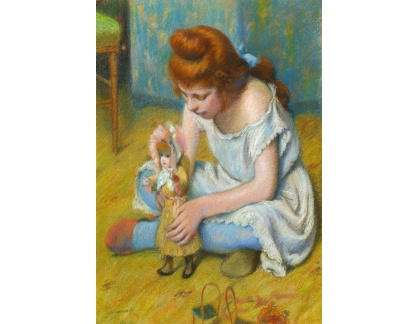 Slavné obrazy XVII-39 Federico Zandomeneghi - Dívka hrající si s panenkou