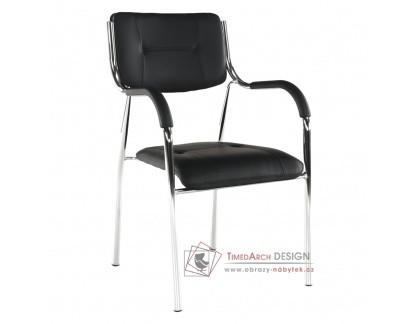 ILHAM, konferenční židle, chrom / ekokůže černá