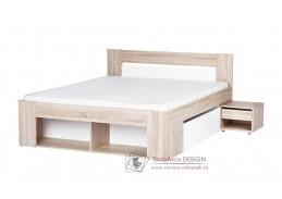 MILO, postel s nočními stolky 160x200cm, dub sonoma / bílá