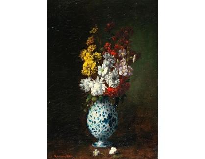 Slavné obrazy I-DDSO-152 Germain Théodule Clément Ribot - Květiny ve váze