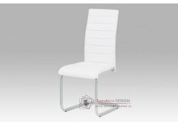 DCL-102 WT, jídelní židle, šedý lak / koženka bílá