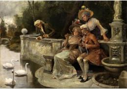 Slavné obrazy III-DDSO-472 Antonio Lonza - Společnost v parku při krmení labutí