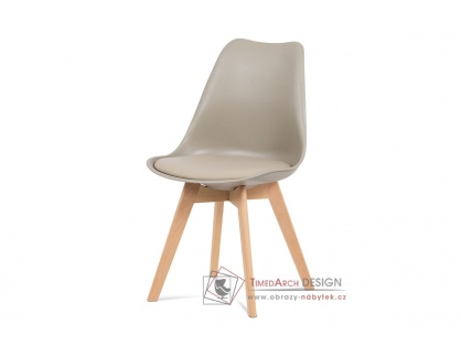 CT-752 LAT, jídelní židle, buk / plast + ekokůže latté