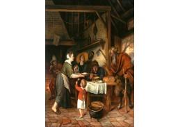 Krásné obrazy II-78 Jan Steen - Satýr v rolnické rodině