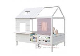 BIBIANA, patrová postel Montessori 90x200cm, borovice bílá
