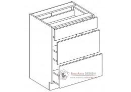 PAULA, D60/S3 dolní skříňka se 3-mi zásuvkami,  šedá / mocca
