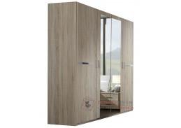 AMÁLIE 568, šatní skříň 4-dveřová 180cm, dub / zrcadla