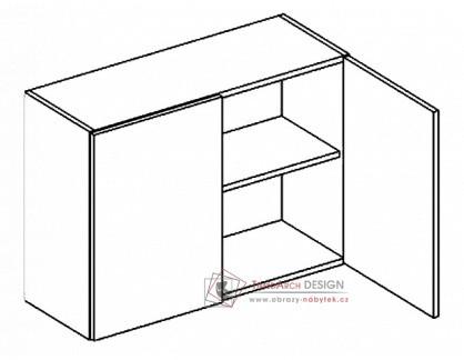 ROMINA, horní skříňka dvoudveřová 80cm W80, dub sonoma / dub san remo