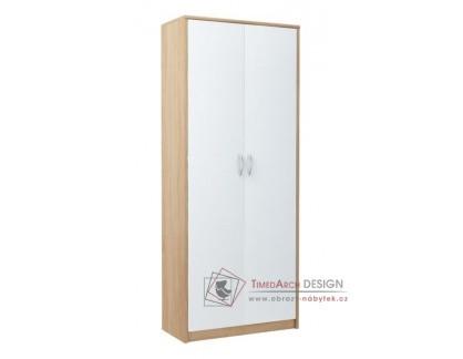 MAX 6, policová skříň 74 cm, dub sonoma / bílá