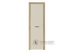 DENVER, šatní skříň 1-dveřová s policemi 1D, dub kraft zlatý/vanilka