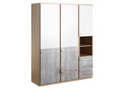 FLAMY 01, šatní skříň 3-dveřová se 2-mi zásuvkami 150cm 3D2S, dub nash / šedá / bílá