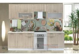 PRAGA, kuchyně 260 cm, bílá / dub sonoma
