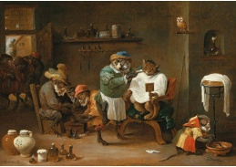 D-5799 Abraham Teniers - Kočka v holičství provozovaném opicí