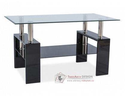LISA III, konferenční stolek, černý lak / sklo