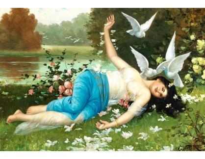 Slavné obrazy IX DDSO-661 H. Waldek - Ležící akt s holubicemi u jezera