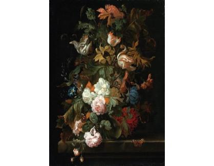 Slavné obrazy XVII-12 Ernst Stuven - Zátiší s květinami ve skleněné váze a motýlem na římse