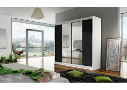 BEGGA II, šatní skříň s posuvnými dveřmi 180cm, bílá / černá / zrcadla