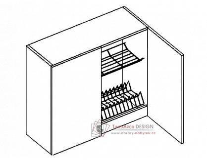 Horní skříňka s odkapávačem W80SU PREMIUM de LUX hruška