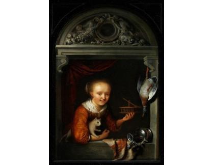 Slavné obrazy I-DDSO-151 Gerard Dou - Mladá žena v okně