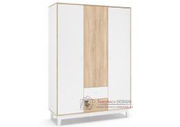 PATRICIA, šatní skříň 3-dveřová 153cm 3D2S, bílá / dub sonoma