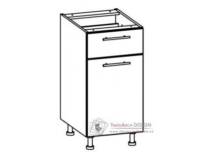 TIFFANY, kuchyňská dolní skříňka T16/D40S1 bílá / bílý lesk