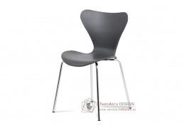 AURORA GREY, jídelní židle, chrom / šedý plast s dekorem dřeva