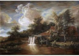 Slavné obrazy VI-78 Meindert Hobbema - Vodní mlýn