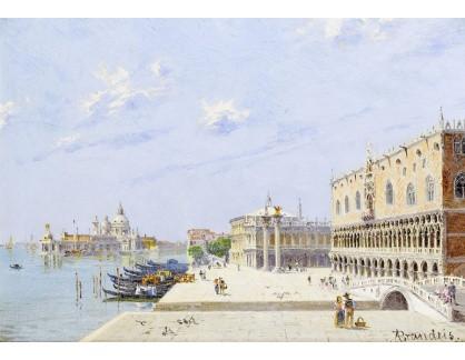 Slavné obrazy XVI-214 Antonietta Brandeis - La Piazzetta a Palazzo Ducale v Benátkách