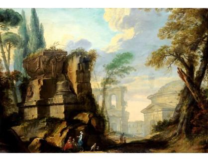 Krásné obrazy IV-82 Jean Barbault - Krajina s římskými ruinami
