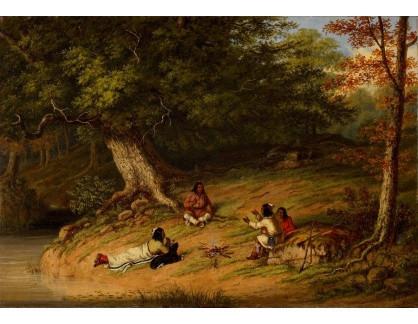 Slavné obrazy XVI-431 Cornelius Krieghoff - Polední odpočinek