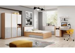 FLAMY, sestava nábytku dětského pokoje SET1, dub nash / šedá / bílá