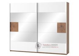 LIVORNO 73, šatní skříň s posuvnými dveřmi 215cm, dub wotan / bílá