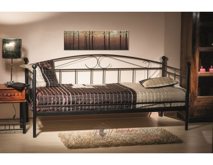 ANKARA, kovová postel 90x200cm, černá