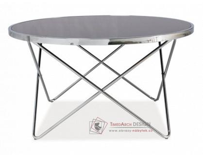 FABIA B, konferenční stolek, chrom / černé sklo