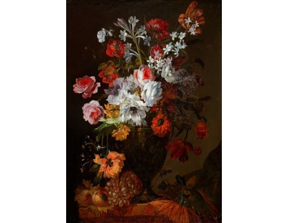 Slavné obrazy I-DDSO-218 Jean Baptiste Morel - Zátiší s růžemi, narcisy a karafiáty