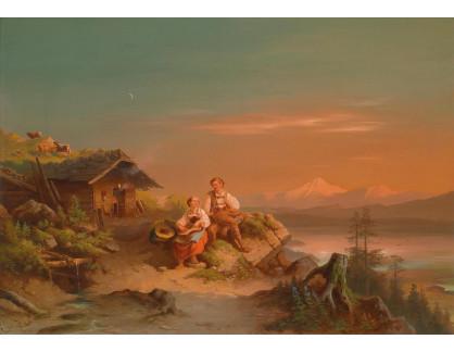 Slavné obrazy XVI-380 Carl Schweninger - Záře nad Alpami