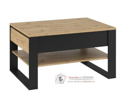 KANTA 09, konferenční stolek, dub artisan / černá