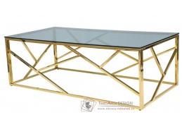 ESCADA A, konferenční stolek 120x60x40cm, zlatá / kouřové sklo