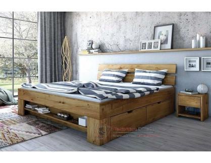 TINA L602, dubová postel se zásuvkami 180×200cm