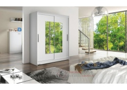 Šatní skříň s posuvnými dveřmi 150cm WESTA III bílá / zrcadlo