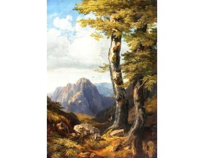 Krásné obrazy II-283 Julius Theodor Gruss - Krajina s jelenem