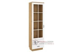 FEDERICO, vitrína 1-dveřová se 2-mi zásuvkami 1D2S, dub artisan / bílá