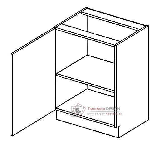 Dolní skříňka jednodvéřová D60L PREMIUM de LUX hruška - levá