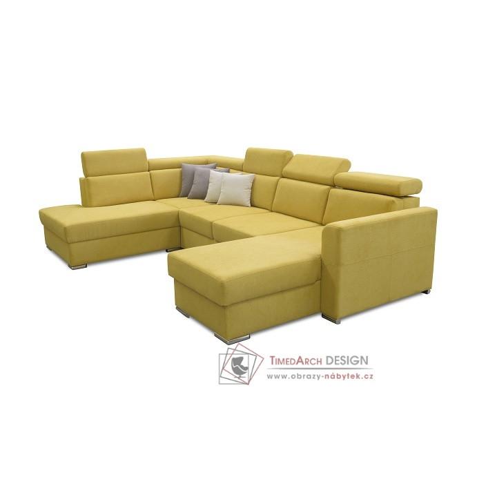 Luxusní rozkládací sedací souprava s úložným prostorem MARIETA U látka žlutá / látka hnědá - levá